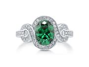 Oval Cut Emerald CZ 925 Sterling Silver Fancy Cocktail Ring 1.86 Ct Women's Jewelry