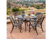 Christopher Knight Home Hallandale Sarasota 5-piece Cast Aluminum Bronze Outdoor Dining Set