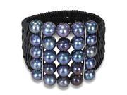 Amour Freshwater Peacock Black Pearl with Two Silver in Bars Black Leather Cord Wire Bracelet (9-10 mm) (7 in)