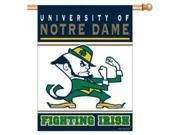 This banner is one sided. It has vibrant colors & exciting graphics. Great for indoor or outdoor use. Made of a nylon material. The banner has an opening at the top to slip a stick or pole through for hanging. 27x37 in size. Made by WinCraft. Size/Dimensions: 27 x 37 Team: Notre Dame Fighting Irish Type: Pennants Color: Multi Material: Nylon