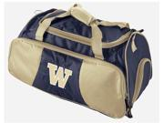 The Washington Huskies Gym Bag makes you feel important. To unsuspecting passers-by this bag says 'I am going to the gym and my workouts are so strenuous that I have to have special equipment and several changes of clothes with me, all of which I carry here in this bag. Oh yes, and my favorite team is the Washington Huskies. Quite a statement. Dimensions: 21 L x 11 W x 12 H. Constructed of durable 100% nylon. Removable shoulder strap and two sturdy handles that can be velcroed together to form one convenient handle. Back side designed to easily attach to the handle of a rolling luggage bag for trips. Large front pocket has convenient storage designed to accommodate pens, IDs, wallets, keys, and coins. Bottom compartment specifically designed for tennis shoe storage. Embroidered team logo on front. Decorated in team colors. Officially licensed product. Size/Dimensions: 21 x 11 x 12 Team: Washington Huskies