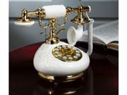 Golden Eagle PORCELAIN-PLAIN 9002 Porcelain Phone - White with Flower Design