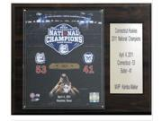 The 2011 NCAA Basketball Champion Connecticut Huskies are celebrated on this commemorative 12''x15'' plaque, featuring a licensed 8''x10'' photo, an engraved nameplate, and an officially licensed trading card of the team's star. A superior, high-clarity acrylic lens cover, firmly affixed to the plaque with brass-type screws, protects the photo. The polished look makes for a well-crafted, long-lasting piece perfect for displaying in an office, recreation room, or any spot for a fan to enjoy. It is proudly produced and assembled in the USA.