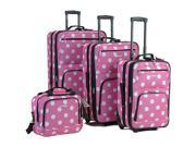 4 Pc Rockland Polka Dot Luggage Set By Fox Luggage
