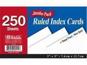 Bazic 515- 36 250 Ct. 3 in. x 5 in. Ruled White Index Card- Pack of 36