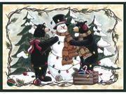Custom Printed Rugs BEARSSNOWMAN Bears and Snowman Rug