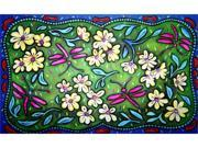 Custom Printed Rugs Dm-17 Flowers And Dragonflies Door Mat