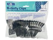 Gale Pacific Usa 20 Count Black Shade Fabric Butterfly Clips  301385 - Pack of 10