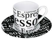 Konitz 4450530307 Set of 4 Espresso Cups-Saucers Cafe Latte Writing on White 9SIA00Y0HF0782