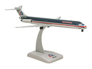 Hogan Wings 1-200 Commercial Models HG9680 American Airlines Md-83 Chrome Finish, Die-Cast Metal with Display Stand