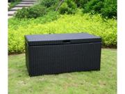 Wicker Lane ORI003-D Outdoor Black Wicker Patio Furniture Storage Deck Box