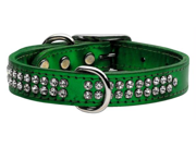 Mirage Pet Products 83-24 LgEGM Metallic Crystal Leather Metallic Emerald Green Large - Two Row