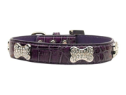 Mirage Pet Products 87 02 XSPR Faux Croc Crystal Bone Collars Purple Extra Small