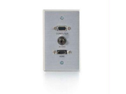 C2G 41034 SINGLE GANG HDMI HD15 VGA AND 3.5MM WALL PLATE BRUSHED ALUMINUM
