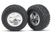 Traxxas TRA5873 Sct Tires and 2.2 in. Satin Chrome Wheels Rear