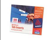 Avery 11136 Laser/Inkjet Inserts for Hanging File Folders- 1/5 Tab- 2 in- White- 100/Pack