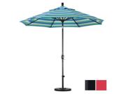 California Umbrella GSPT908302-F13 9 ft. Aluminum Market Umbrella Push Tilt - M Black-Olefin-Red 9SIA6YN2B49566
