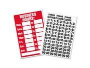 Business Hours Sign w Vinyl Characters Poly Resin 8 x 12 Red White