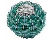 Atlas Homewares 3168 Bollywood 2 in. Large Beaded Weave Knob - Beauties Aqua and Silver