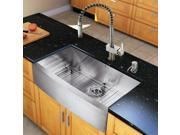 Vigo Industries VG15143 All in One 36-inch Farmhouse Stainless Steel Kitchen Sink and Faucet Set - Stainless Steel