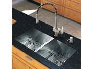 Vigo Industries VG15158 All in One 32-inch Undermount Stainless Steel Double Bowl Kitchen Sink and Faucet Set - Stainless Steel