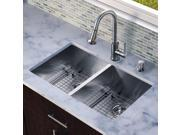 Vigo Industries VG15159 All in One 32-inch Undermount Stainless Steel Double Bowl Kitchen Sink and Faucet Set - Stainless Steel