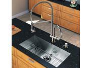 Vigo Industries VG15244 All in One 30-inch Undermount Stainless Steel Kitchen Sink and Chrome Faucet Set - Stainless Steel-Chrome