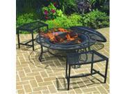 Woodstream Coropration FB6400-750 Steel Mesh Rim Fire Pit & 2 Single Benches Set