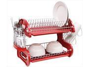 Home Basics DD10248 Dish Drainer 2 Tier Plastic Red,