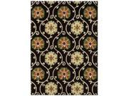 Nourison 13992 Suzani Area Rug Collection Black 5 ft 3 in. x 7 ft 5 in. Rectangle