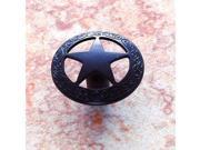 JVJHardware 07220 Lone Star 1.44 in. Diameter Medium Star Knob with Braided Edge - Oil Rubbed Bronze