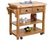 Sunny Designs 2178RO Sedona Buthcer Block Kitchen Island Cart in Rustic Oak