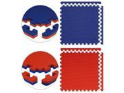 Alessco JSFRRDRB1646 Jumbo Reversible SoftFloors -Red-Royal Blue -16  x 46  Set