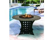 California Outdoor Concepts 4020-BK-PG8-PEB-54 La Costa Dining Height Fire Pit-Black-Light Green Reflective Glass-Pebble - 54 in.