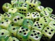 Chessex Manufacturing 27830 12 mm Vortex Bright Green With Black Numbering D6 Dice Set Of 36