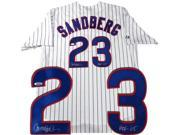 Tristar Productions I0003991 Ryne Sandberg Autographed Cubs Replica Pinstripe Jersey