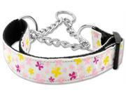 Mirage Pet Products 125 005M LGWT Butterfly Nylon Ribbon Collar Martingale White Large