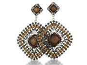 SuperJeweler Silver Tone 3 in. Orange Stone Diamond Shaped Dangle Drop Earrings