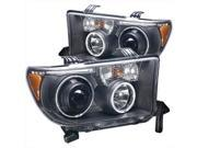 ANZO 111174 Projector Headlights Halo With LED Bar Black Clear