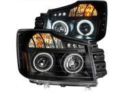 ANZO 111178 Projector LED Headlights Halo Black Clear