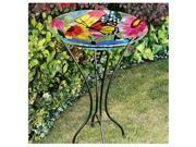 Gerson 2066210 26.5 in. Butterflies & Flowers Bird Bath