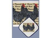 Pipsqueak Productions DP717 Chicken Barred Plymouth Rock Dish Towel And Pot Holder Set 9SIA00Y44K7007
