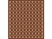 IMS 260587285BR bg Geometric Pattern Heavyweight Indoor Outdoor Patio Rug Brown Beige 5 x 8 ft.