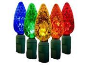 Queens of Christmas S 60C65M 4G S 60C65M 4G 60 Count Standard Grade C6 Faceted Multi Colored LED Light Set with in line rectifer on Green Wire