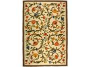 Safavieh HK248A-4 3 ft. - 9 in. x 5 ft. - 9 in. Small Rectangle, Country & Floral Chelsea Ivory Hand Hooked Rug
