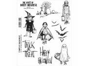 Stampers Anonymous BWC013 Brett Weldele Cling Stamps 7 x 8.5 in. - Trick Or Treaters