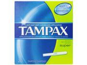 Tampax Cardboard Applicator Tampons Super Absorbency 20 Count