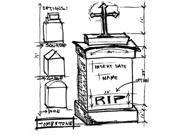 Tim Holtz Mounted Red Rubber Stamp 4''X4''-Tomb Sketch