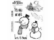 Stampers Anonymous BWC015 Brett Weldele Cling Stamps 7 x 8.5 in. - Blizzy The Happ Snowman