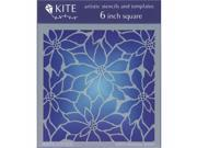 Judikins KS 75 6 in. Square Kite Stencil Poinsettias